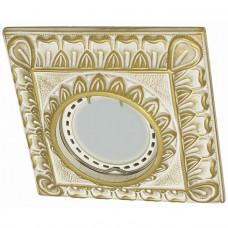 Встраиваемый точечный светильник Гипсовый RD 014 WH/G квадрат белый/золото