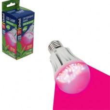 Светодиодная LED лампа полного спектра Uniel A60 9Вт E27  для растений (розовая)