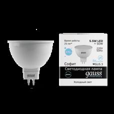 Светодиодная лампа MR16 GU5.3 5.5Вт 6500К GAUSS Elementary (композит) матовое стекло
