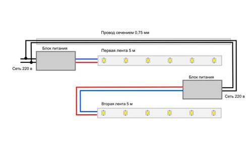Схема подключение светодиодной ленты своими руками