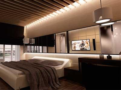 Светодиодная лента в интерьере спальной